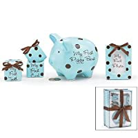 Baby Boy 4 Piece Keepsake Gift Set With Piggy Bank, First Tooth Box,First Curl Box and Photo Frame from Burton & Burton