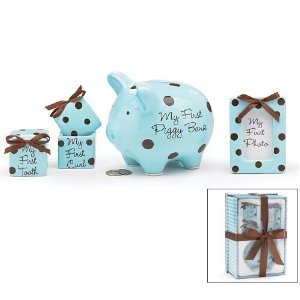 Baby Boy 4 Piece Keepsake Gift Set With Piggy Bank, First Tooth Box,First Curl Box And Photo Frame front-28264