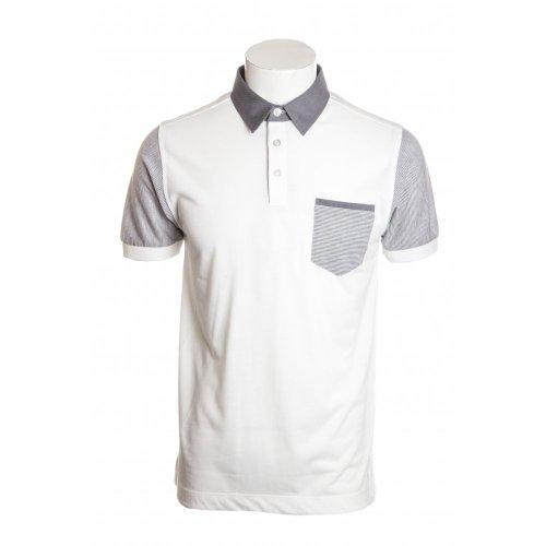Remus Uomo mens woven collar short sleeve pocket polo shirt in white MED