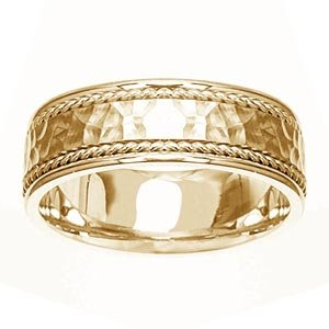 Women's 14k Yellow Gold Hammered-Finish Wedding Band (7.00 mm)