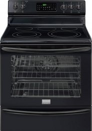 """Frigidaire Gallery Series Fgef3055Mb 30"""" Freestanding Electric Range With 5 Radiant Elements, 5.8 Cu. Ft. True Convection Oven, Self-Clean, Storage Drawer, Temperature Probe, And Auto Keep Warm In Black"""