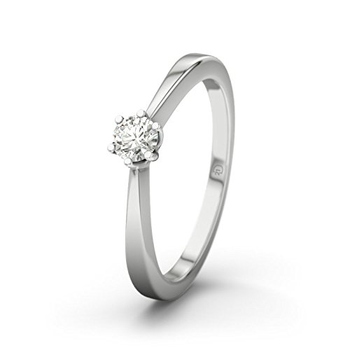 21DIAMONDS Women's Ring La Paz SI2 0.15 CT Brilliant Cut Diamond Engagement Ring - Silver Engagement Ring