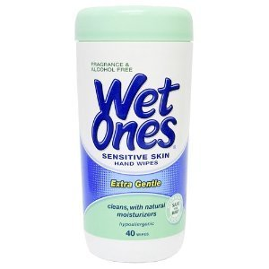 Wet Ones Sensitive Skin Hands & Face Wipes, 40 Count Canister (Pack Of 4)