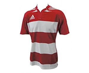 ADIDAS Rugby Teamwear Hooped Maillot pour Homme, Rouge/Blanc, M