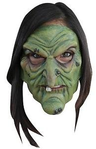 [ADULT GREEN WITCH 2 PC LATEX MASK COSTUME TB27406] (Jeepers Creepers 2 Costume)