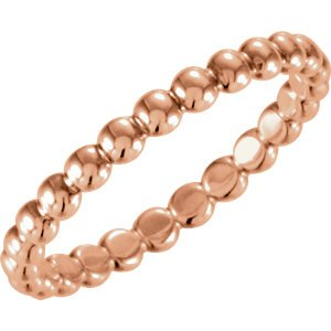 14kt Rose 2.5mm Beaded Stackable Ring Size 6