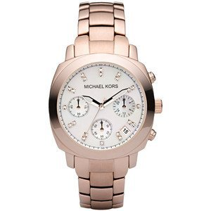 Michael Kors Rose Gold Stainless Steel Mop Dial With Crystals Chronograph Watch MK5336