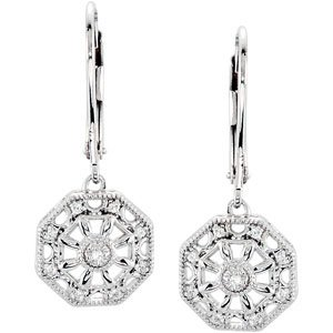 Sterling Silver Rough Diamond Lever Back Earrings .07ct - JewelryWeb