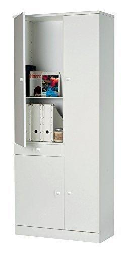 Mobile multiuso di colore bianco con 3 ante, un cassetto e 7 ripiani, armadio bianco con all'interno 3 ripiani grandi, 3 ripiani piccoli e uno fisso grande, mobile bianco di dimensioni 77X34X183 cm.