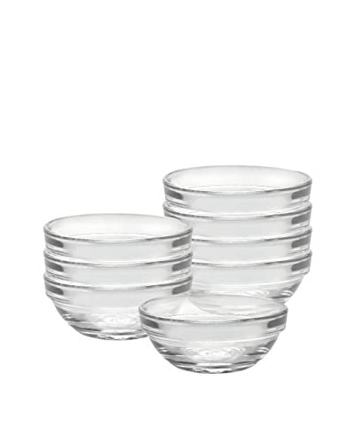 Duralex Set Of 8 Lys 3″ Stackable Bowls, Clear