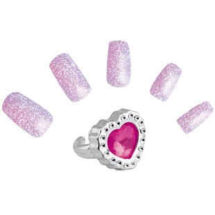Buy Pink Glitter Nails & Ring Set