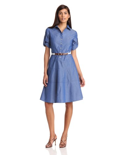 Anne Klein Women's Long Sleeve Shirt Dress, Denim, 10