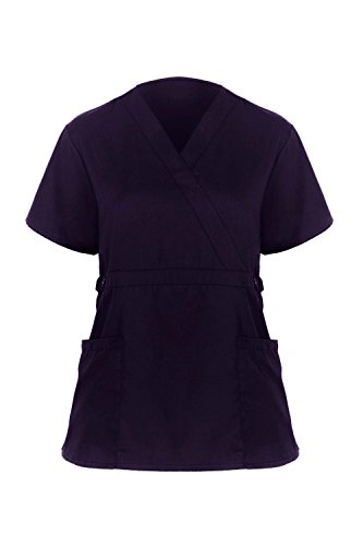 MediFit Womens Solid Buttoned Mock Wrap Medical Top(TOP-MED,EPTA1-2XL)