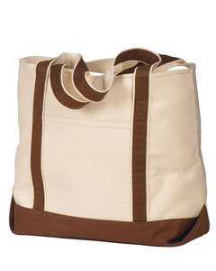 Hyp HY801 16 oz Beach Tote Bag &#8211; Natural/Chocolate &#8211; OS