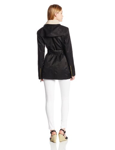 Vince Camuto Women's Contrast Color Asymmetrical Belted Trench Coat, Black/Nude, X-Small