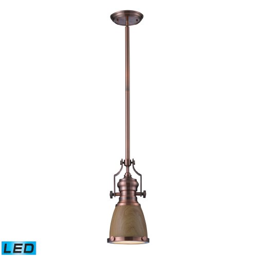 Chadwick 1 Light Pendant In Medium Oak And Antique Copper - Led Offering Up To 800 Lumens (60 Watt Equivalent) With Full Range Dimming. Includes An Easily Replaceable Led Bulb (120V).