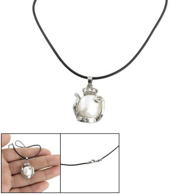 Rosallini White Faux Pearl Pendant Black Cord Necklace