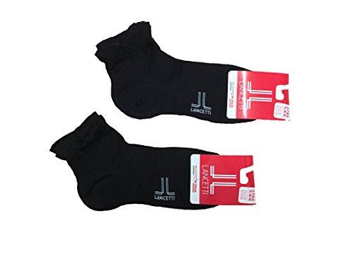 6 paia calzini corti donna LANCETTI filo di scozia taglia unica tinta unita art.lan025c (NERO)