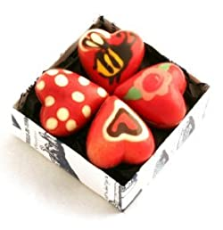 8 Hand-Painted Baby Chocolate Heart Halves in gift box