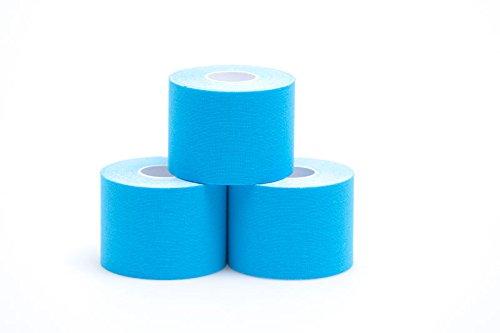 Theramaid Sportstapes - Premium Sporttape mit 160% Dehnfähigkeit / 5cm x 5m, 96% Baumwolle, Kineseologie - Physiotherapie-Tape, verschiedene Farben, wasserfest (blau)