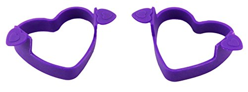 Bakerpan Silicone Egg Ring, Heart Shapes, 4 Inch, Pancake Ring, Purple, 2 Pack