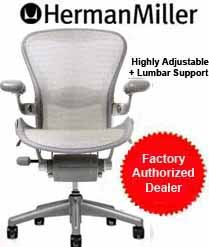 Aeron Chair by Herman Miller - Home Office Desk Task Chair Fully Loaded Highly Adjustable Medium Size (B) - Lumbar Back Support Cushion Titanium Smoke Frame Tuxedo White Gold Pellicle