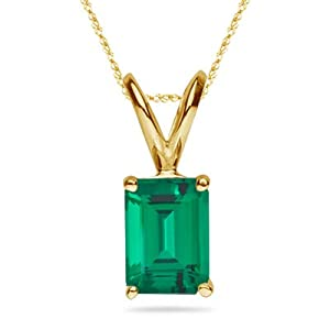 0.72-0.84 Cts of 7x5 mm AAA Emerald Russian Lab Created Emerald Solitaire Pendant in 14K Yellow Gold