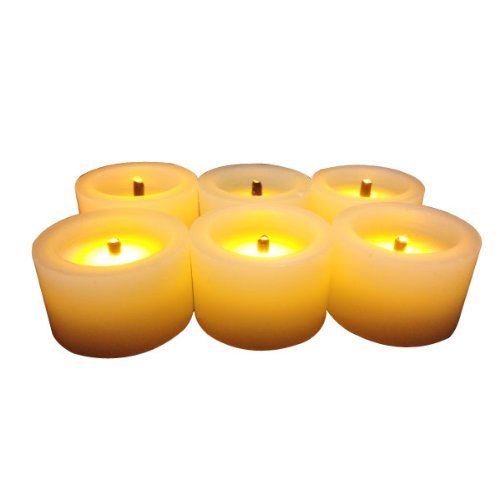 Flameles Candles,LED Battery Powered Candles~Real Wax Mini Votive Black Wick Timing Function Measures 1