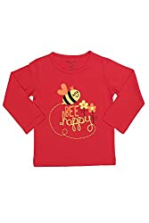 Chirpie Pie by Pantaloons Girl's Round Neck T-Shirt (205000005610423, Red, 18-24 Months)