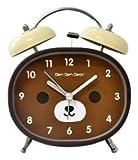 JustNile Kids Cartoon Silent Alarm Clock - 4-inch Brown Bear Face