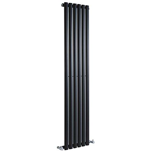 Hudson Reed Revive - High Gloss Black Vertical Designer Radiator Heater With Angled Valves - Mild Steel - 63