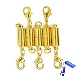Bluecell Pack of 5 Pcs Gold Color Tone Magnetic Lobster Clasp for Jewelry Necklace Bracelet