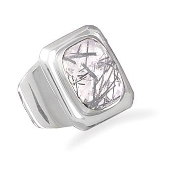 Sterling Silver Rutilated Quartz Ring / Size 7