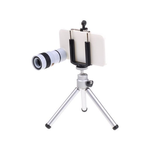 Iphone 4 4S 5 Camera Lens Kit Including 8X 12X Telephoto Lens / Mini Tripod / Universal Phone Holder / Hard Case For Iphone / Velvet Phone Bag / Cleaning Cloth / Fisheye / Wide Angle / Macro (Iphone 5 8X 3-In-1 (White))