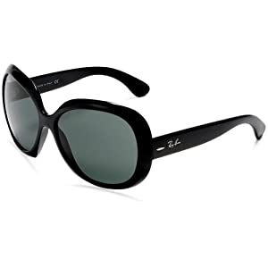 Ray-Ban RB4098 - 601/71 Jackie Ohh II Sunglasses, Black Frame/Green Solid Lens, 60 mm