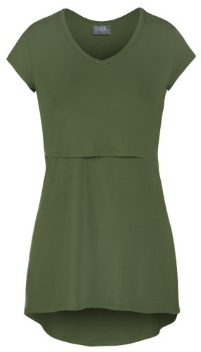 Milk Nursingwear High-Low V-Neck Nursing Top-L-Olive
