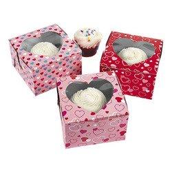 Dozen Cardboard Valentine's Day Cupcake Boxes