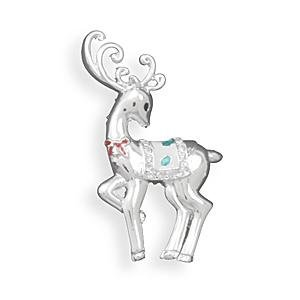 Reindeer Fashion Pin - Fine Silver Plate with Swarovski Crystal Accents