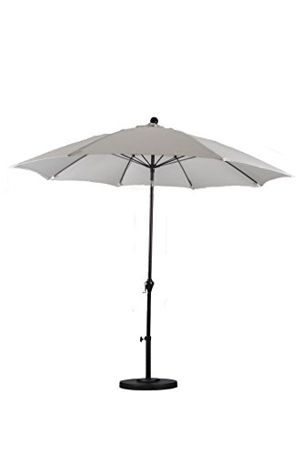 California Umbrella 9-Feet Polyester Wind Resistance Fiberglass Rib Push Button Tilt Aluminum Market Umbrella, Natural