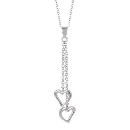 Sterling Silver Double Heart Y-Shaped Necklace, 16