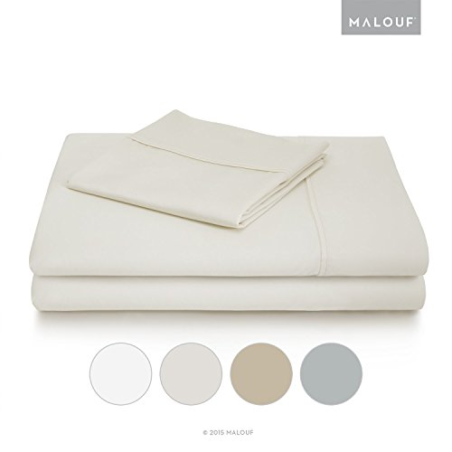 WOVEN 600 Thread Count Luxurious Feel Soft Cotton Blend Sheet Set with Deep Pocket Design - Split Queen - Ivory (Bellino Sheets compare prices)