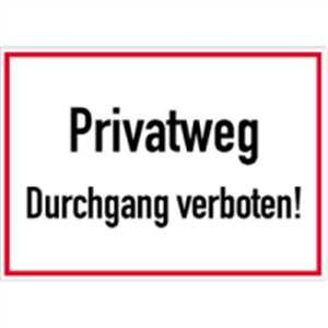 schild privatweg durchgang verboten 25 x 35cm alu baumarkt. Black Bedroom Furniture Sets. Home Design Ideas
