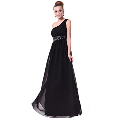 "Fashion chiffon evening party dress. Unadjustable one shoulder style Padded enough for ""no bra"" option. Appropriate for wedding, prom, or evening parties. You can not miss the wonderful item in the party."