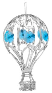 Chrome Hot Air Balloon Ornament – Blue Color Swarovski Crystal