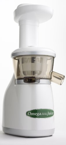 Omega VRT330 Dual-Stage Vertical Single-Auger Low-Speed Juicer, White