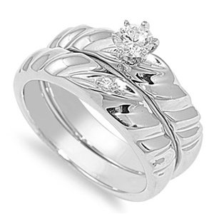 Elegant Sterling Silver Double Row Twist Design Promise Ring with Round Clear CZ - size8