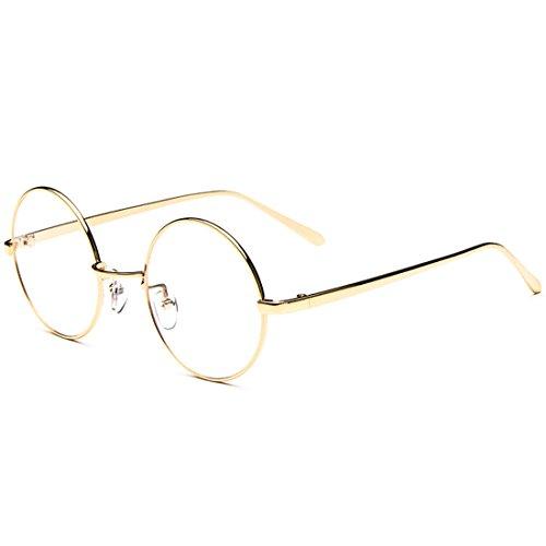 D.King Vintage Unisex Round Metal Golden Eyeglasses Frames Lens 54mm (Spectacles Frame compare prices)