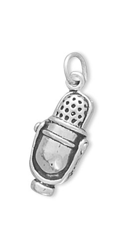 Microphone Charm, Sterling Silver