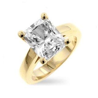 Juliet's 18k Gold Emerald Shape Imitation Diamond Solitaire Ring - 5
