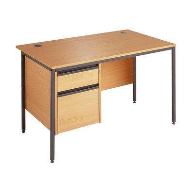 Maestro Straight H Frame Desk with Drawer Fixed Pedestal Finish: Oak, Drawer: 2, Size: 122.8cm